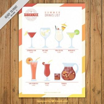 Lista de bebida de fruta do verão