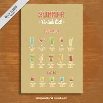 Lista de bebida do verão com cocktails e shots
