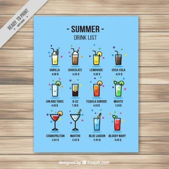 Lista de bebida engraçado do verão