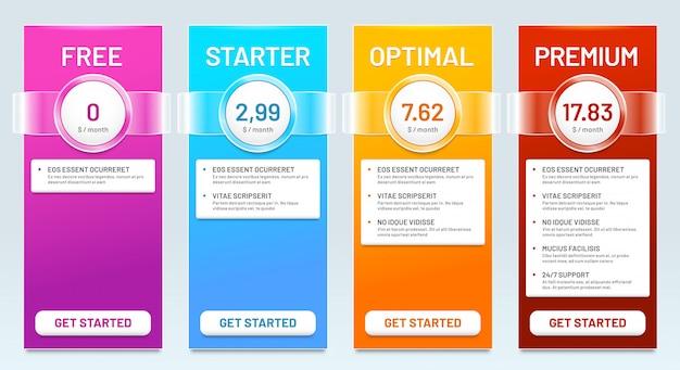Lista de comparação tarifária. planos de tarifas, faixas de preços e preços de escolha planejam ilustração do modelo de banner