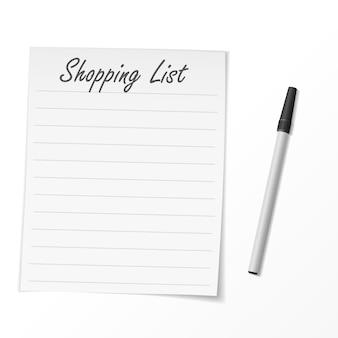 Lista de compras de papel e caneta