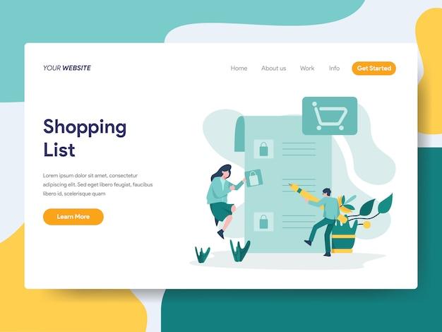 Lista de compras para a página do site