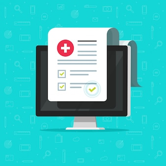 Lista de computadores e formulários médicos com dados de resultados e marca de seleção aprovada ou documento eletrônico de lista de verificação clínica com caixa de seleção
