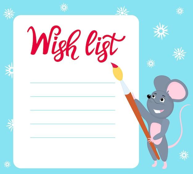 Lista de desejos. ratinho escreve desejos para o ano novo. rato com pincel.