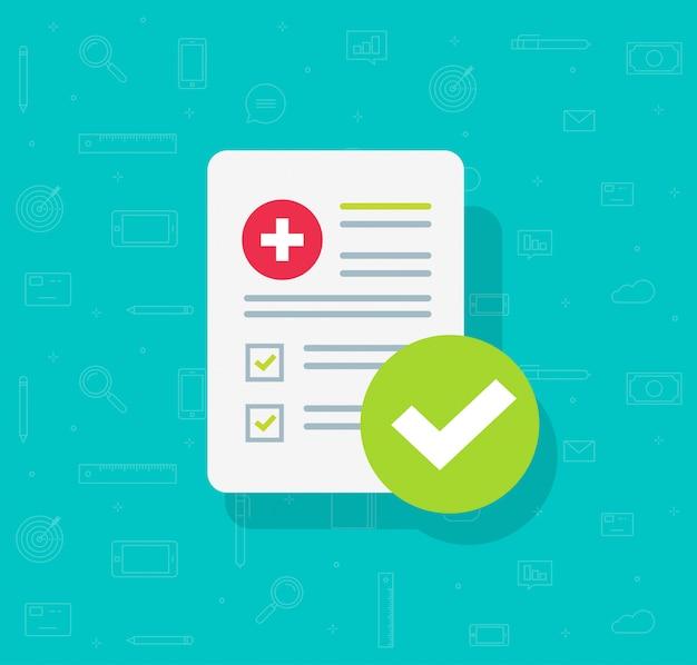 Lista de formulários médicos com dados de resultados e marca de verificação aprovada