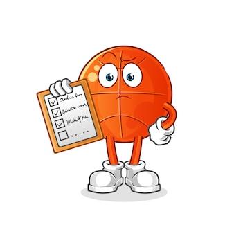 Lista de horários de basquete. personagem de desenho animado