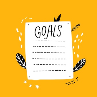Lista de metas em branco modelo desenhado à mão estilo página de resoluções de ano novo com página de diário de marcas