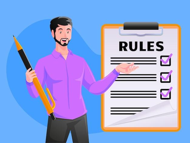 Lista de negócios de regras de leitura de orientação fazendo lista de verificação