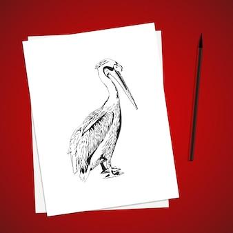 Lista de papel branco na mesa vermelha e pincel. ilustração vetorial design de modelo simples