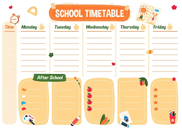 Lista de planejamento escolar cronograma para impressão cronograma semanal das aulas e do programa depois da escola