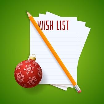 Lista de planos de desejos de ano novo. lista de metas de ano novo. texto de 2022 resoluções no bloco de notas. plano de ação. lápis e bolas de árvore realistas coloridas