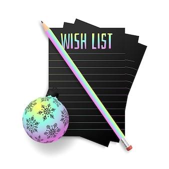 Lista de planos de desejos holográficos de ano novo. lista de metas de ano novo. texto de 2022 resoluções no bloco de notas. plano de ação. lápis e cor de holograma de bugiganga bola de árvore realista.