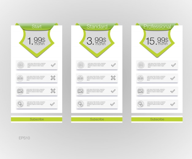 Lista de preços. banners de três tarifas. tabela de preços da web. para aplicativo da web.