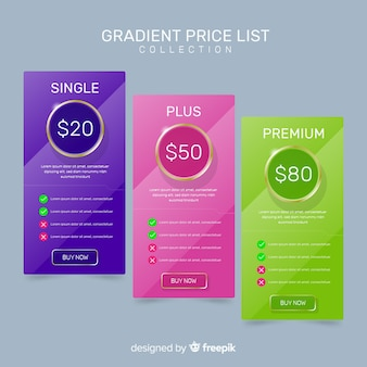 Lista de preços collectio Vetor grátis
