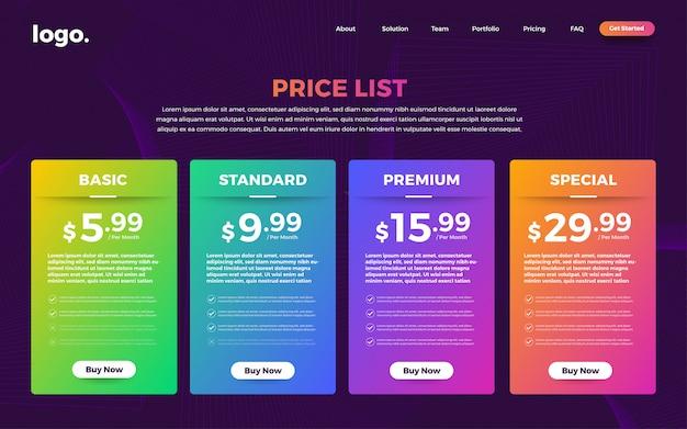 Lista de preços da interface do usuário da interface do usuário