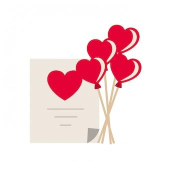 Lista de presentes com ícone isolado de balões de coração