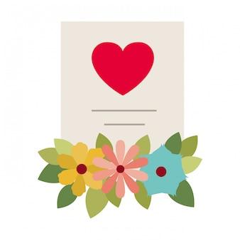Lista de presentes com ícone isolado de flores