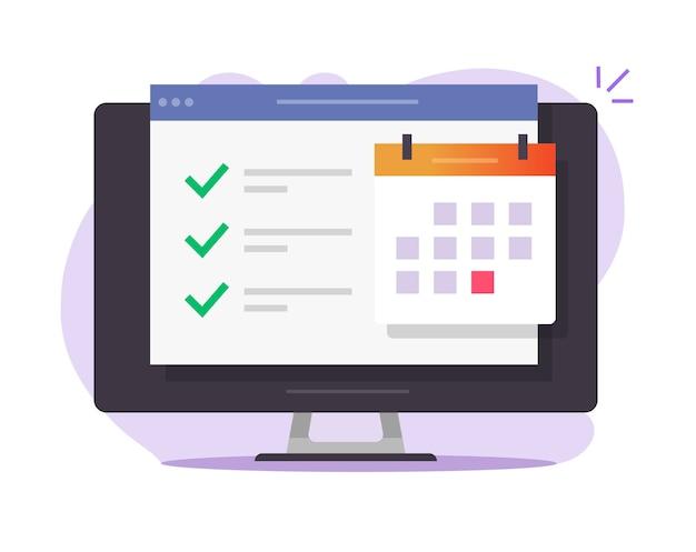 Lista de tarefas da web de calendário online com tarefas concluídas de negócios