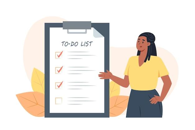 Lista de tarefas, jovem coloca marcas de verificação na frente das tarefas concluídas