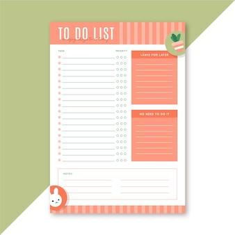 Lista de tarefas modelo de papelaria
