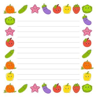 Lista de tarefas para crianças modelo vazio ilustração em vetor cor isolada