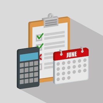 Lista de verificação com calendário e calculadora