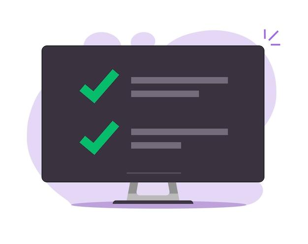 Lista de verificação com lista de marcas de verificação on-line na ilustração plana dos desenhos animados da tela do computador