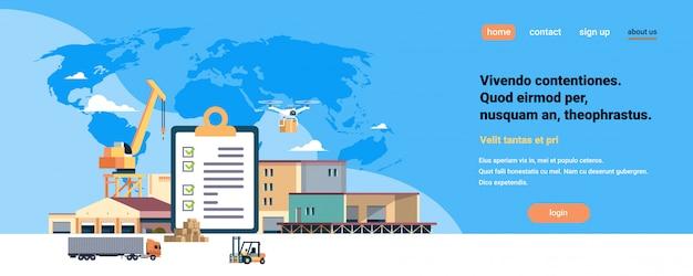 Lista de verificação concluída prancheta guindaste semi reboque armazém empilhadeira maquinaria azul mapa do mundo, entrega internacional conceito industrial espaço horizontal cópia plana
