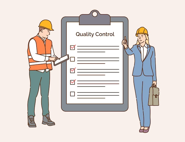 Lista de verificação, controle de qualidade, indústria da construção. equipe de engenheiros controla e verifica o trabalho em conjunto