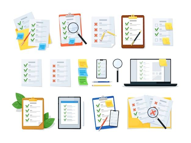 Lista de verificação da área de transferência, lista de verificação online e documento em papel