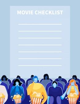 Lista de verificação de cinema filme com pessoas assistindo filme.