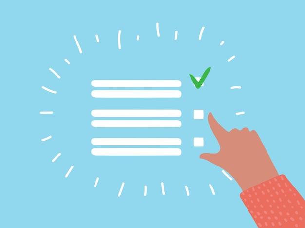 Lista de verificação de desenho vetorial com marcas verdes e espaço de cópia em branco nas linhas sobre um fundo azul, ilustração vetorial. mão numan fazendo uma marca de voto