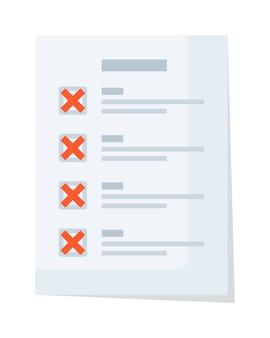 Lista de verificação de documento em papel com rejeição vermelha e marca de seleção falsa