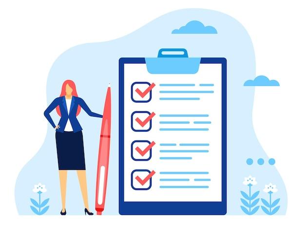 Lista de verificação de empresária mulher de sucesso com enorme lista de tarefas concluídas e conceito de vetor de caneta