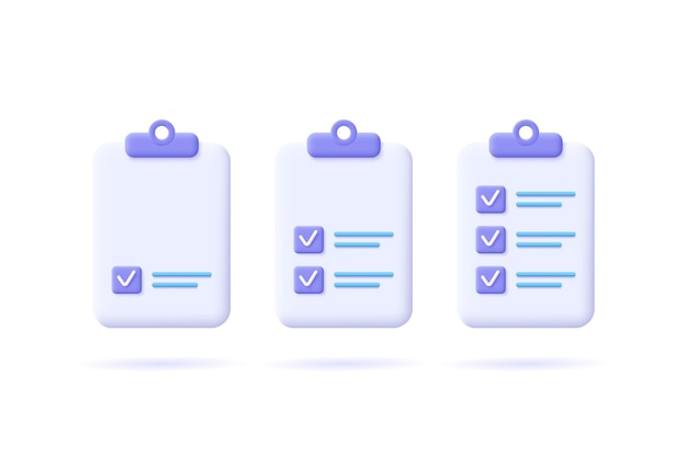 Lista de verificação de gerenciamento de tarefas, trabalho eficiente, plano de projeto, progresso rápido, conceito de aumento de nível, atribuição e exame, ícone de solução de produtividade. ilustração em vetor 3d.