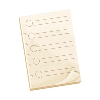 Lista de verificação de papel do caderno ou para fazer em branco no estilo cartoon