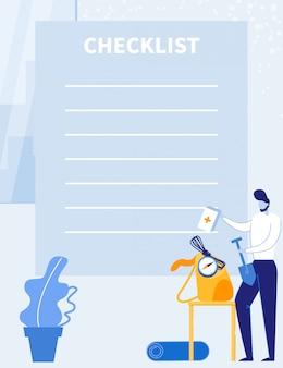 Lista de verificação de viagem, viagem ou planejador de compras.