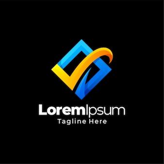 Lista de verificação design de logotipo gradiente de negócios