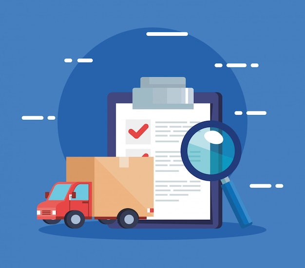 Lista de verificação do serviço de logística de entrega e ícones
