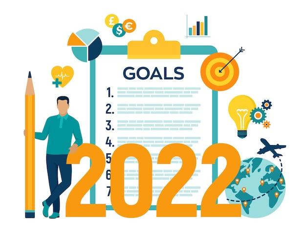 Lista de verificação dos objetivos de ano novo de 2022. objetivo e planos futuros. lista para o próximo ano novo, fazendo o planejamento anual para 2022. motivação do negócio, conceito de inspiração. ilustração vetorial com personagens e ícones.