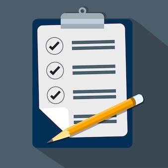 Lista de verificação e lápis-vector design plano