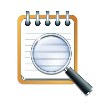 Lista de verificação e lupa