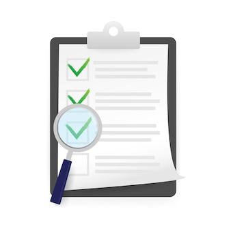 Lista de verificação em estilo simples. ilustração em vetor das ações. ícone de marca de seleção. ilustração de design plano.