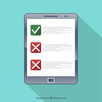 Lista de verificação em um dispositivo