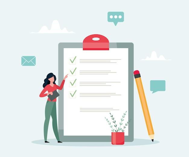 Lista de verificação em um papel da prancheta conclusão bem-sucedida de tarefas de negócios