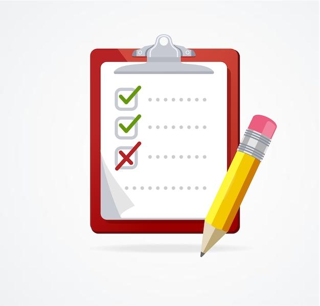 Lista de verificação em uma placa vermelha com lápis isolado no fundo branco flat design