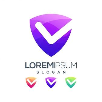Lista de verificação inspiração gradiente cor logotipo