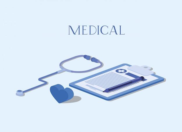 Lista de verificação médica com estetoscópio