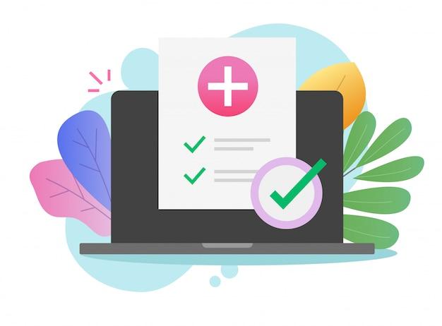 Lista de verificação médica on-line aprovada com marcas de seleção