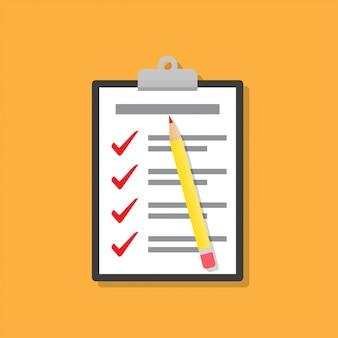 Lista de verificação na área de transferência com o lápis em um design plano